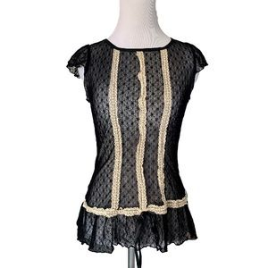 MMM black lacy sheer blouse size M